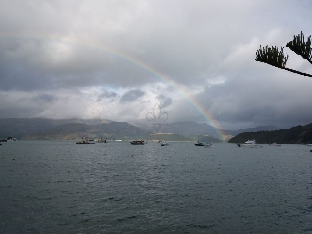 Morgendlicher Regenbogen über der Hafenbucht von Akaroa.